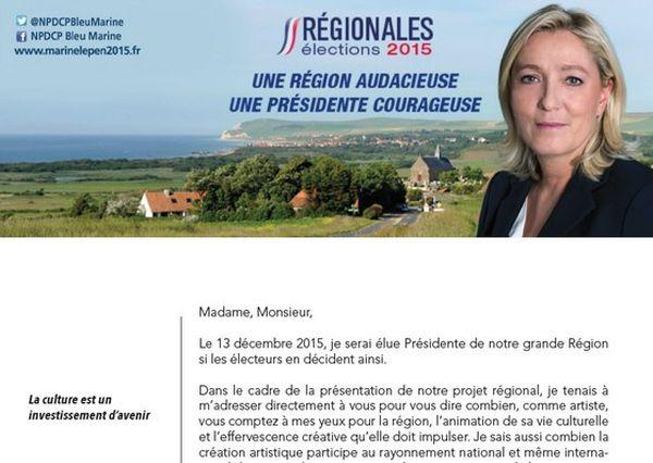Extrait de la lettre que Marine Le Pen va adresser au monde culturel.