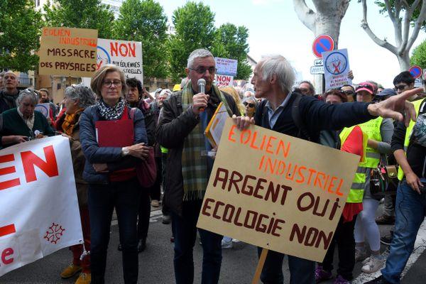 Le 4 mai 2019, manifestation à Perpignan contre l'implantation de champs d'éoliennes en Occitanie