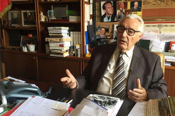 Jacques Peyrat en septembre 2019 dans son bureau à Nice.