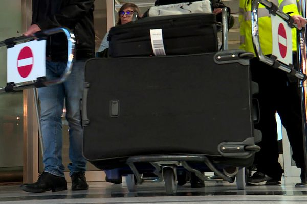Les voyageurs à l'arrivée de l'aéroport de Nantes-Atlantique, février 2020