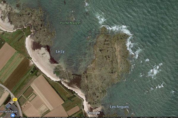 Vue aérienne de la plage du Ly à Montfarville
