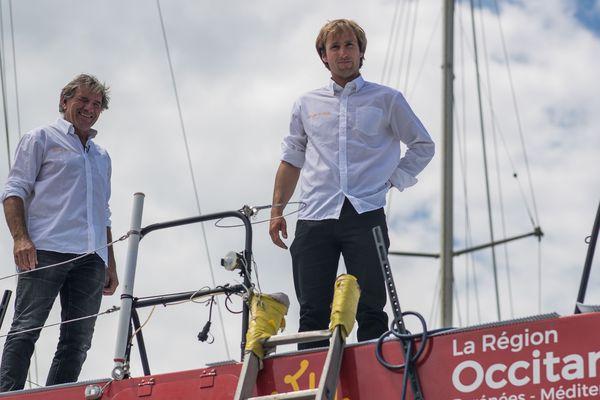 Kito de Pavant et Achille Nebout, en préparation de la Transat Jacques Vabre, avant que le mât de leur bateau ne se brise, le 26 septembre dernier