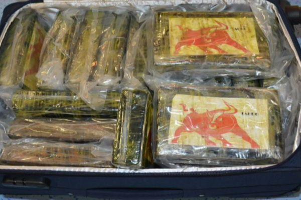 Les paquets de cocaïne transportés dans des valises à bord du Jet privé en provenance de Colombie, ayant pour destination finale Biarritz.