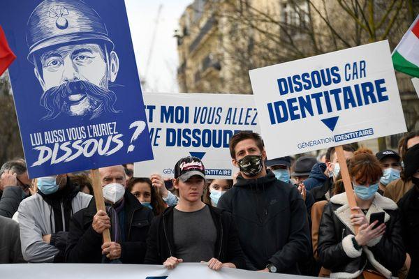 Manifestation contre la dissolution de Génération Identitaire le 20 février 2021 à Paris