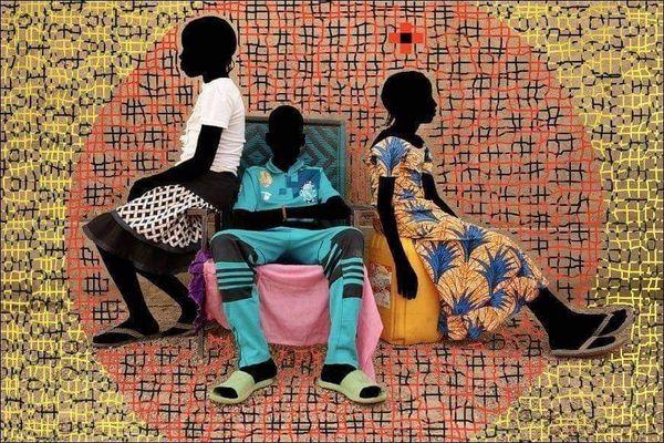Oeuvre du Burkinabé Saidou Dicko, soutenu par la Fédération artistique Afrique-France .
