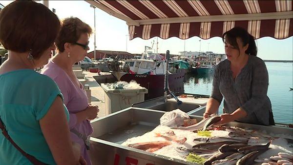 Sur le quai de saint-Cyprien, Katia Ramagosa vend le poisson pêché le matin même par son mari. juin 2019
