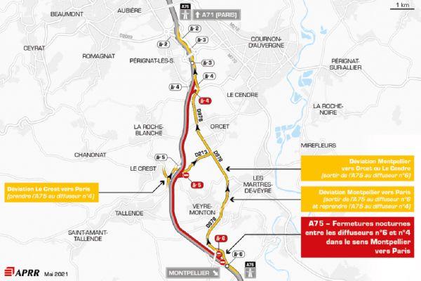 Lundi 3, mardi 4 et mercredi 5 mai, la circulation sera déviée sur l'autoroute A75, au sud de Clermont-Ferrand.