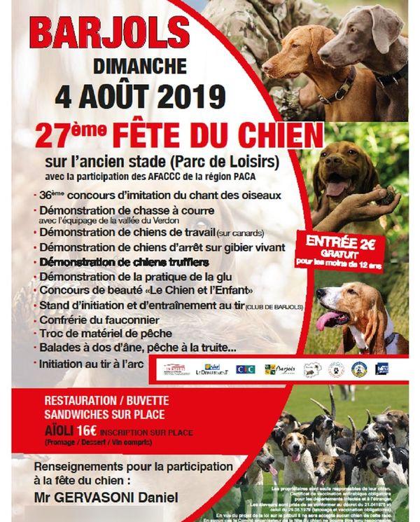 L'affiche de l'édition 2019 de la fête du chien de Barjols.