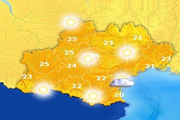 Carte des températures - jeudi 24 octobre 2012.