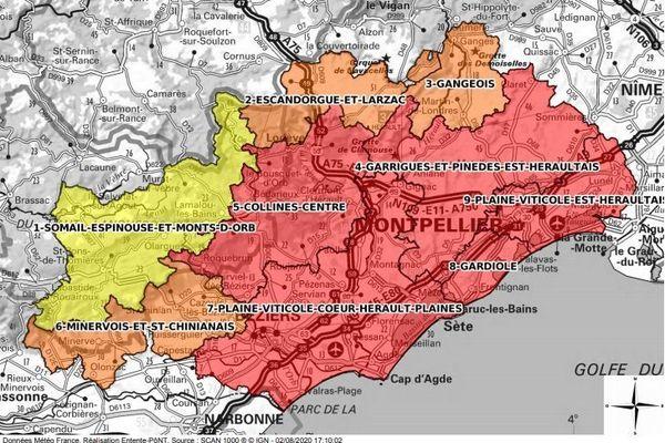 La vigilance aux feux de forêt est très élevé sur une partie du territoire héraultais dont au Nord de la commune de Montpellier / 3 août 2020.