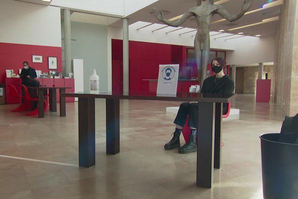 20 février 2021. Le musée st roch à Issoudun (INDRE) accueille des groupe de 6 personnes, avec des consignes sanitaires stricte.