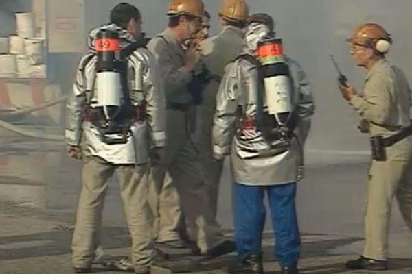 Image de l'exercice de sécurité du 11 septembre 1997 chez Lubrizol à Rouen (Seine-Maritime).