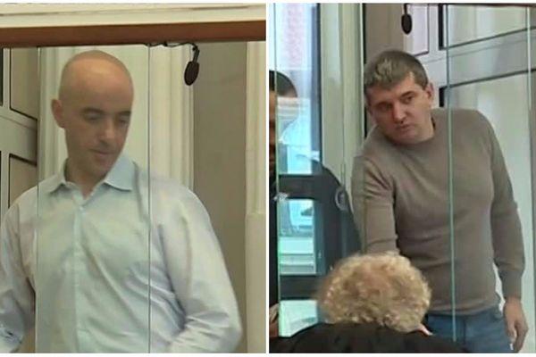 Redoine Faïd (à gauche) et Fabrice Hornec (à droite) le 9 octobre 2017 aux assises du Nord, à Douai.