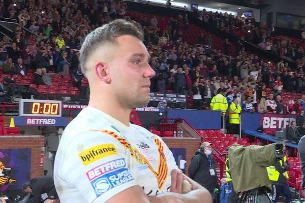 Les larmes de Mickaël Goudemand après la défaite des Dragons Catalans contre St Helens, le samedi 9 octobre 2021.