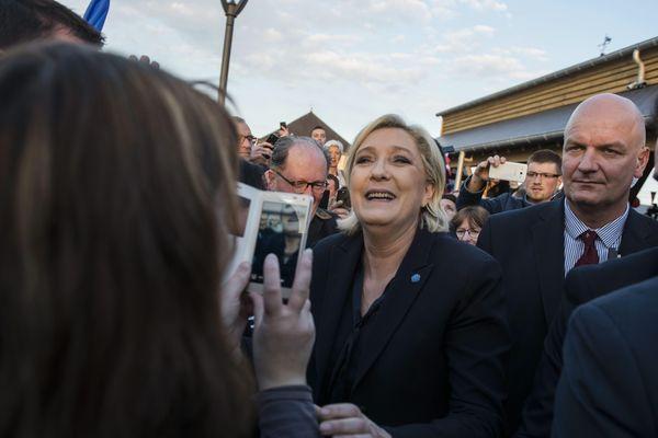 Marine Le Pen en meeting à La Bazoche-Gouet en Eure-et-Loir dans le cadre de sa campagne présidentielle.