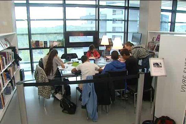 Aide aux devoirs à la médiathèque de Pierre-Vives à Montpellier. 2015.