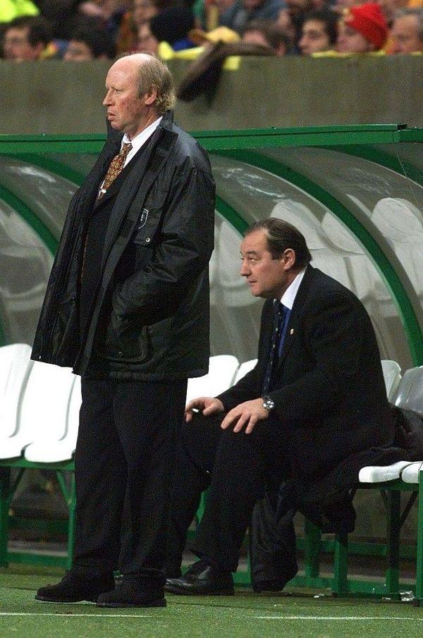 Daniel Leclercq et Gervais Martel sur le banc lensois en 1998.