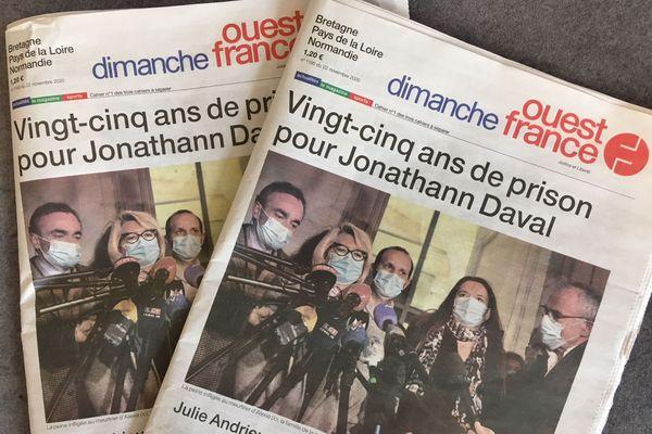 Une du journal Ouest-France de ce dimanche 22 novembre. Victime d'un virus informatique, le quotidien régional ne sort qu'une édition pour la Bretagne, la Normandie et les Pays de Loire.