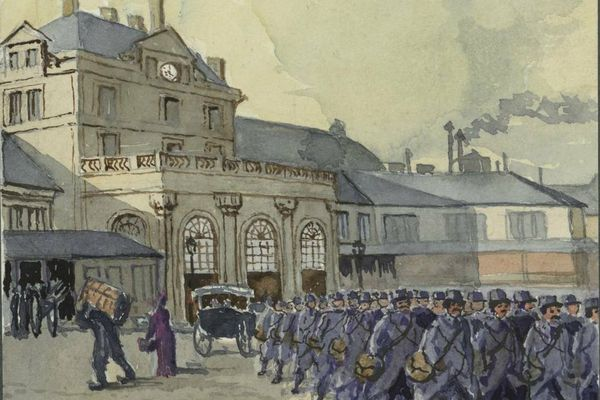 Soldats dans la cour de la gare de Dijon  - Aquarelle extraite de l'un des Manuscrits du Lieutenant-Colonel Guillaume Cullard (Bibliothèque Patrimoniale et d'Etudes de la Ville de Dijon)