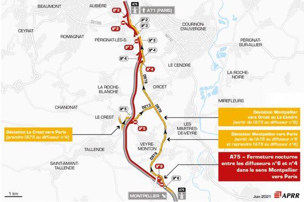 La nuit du jeudi 17 juin, l'A75 est fermée au sud de Clermont-Ferrand.