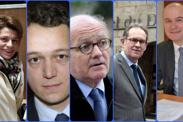 Les cinq élus LR bretons de l'équipe de campagne de François Fillon : Isabelle Le Callennec, Maël de Calan, François Goulard, Alain Cadec et Philippe Le Ray
