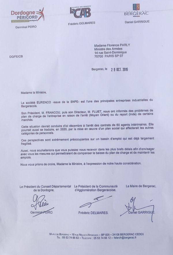 G. Peiro, F. Delmares et D. Garrigue adressent une demande d'entrevue à Florence Parly, Ministre des Armées pour aider la poudrerie de Bergerac en difficulté