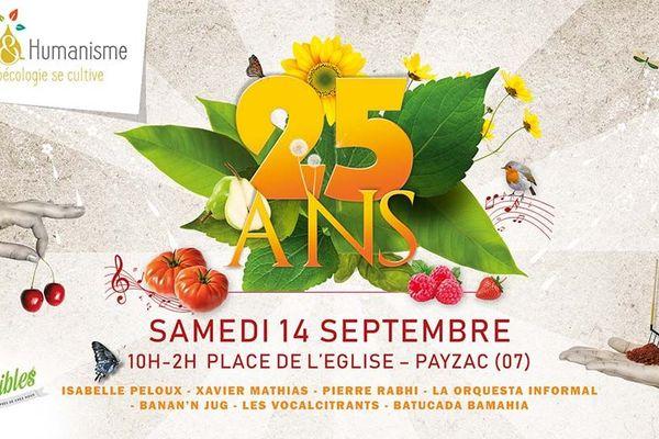 L'affiche du rendez-vous festif des 25 ans de Terre et Humanisme en Ardèche