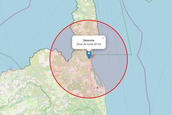Le rayon de 20km autour de Bastia calculé par carte-sortie-confinement.fr
