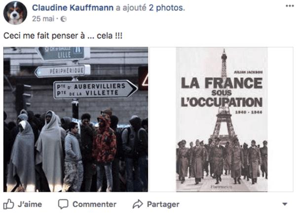 Sur la page Facebook de Claudine Kauffmann