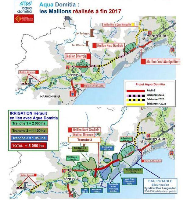 La carte des réseaux d'eau existants et des travaux de connexions.