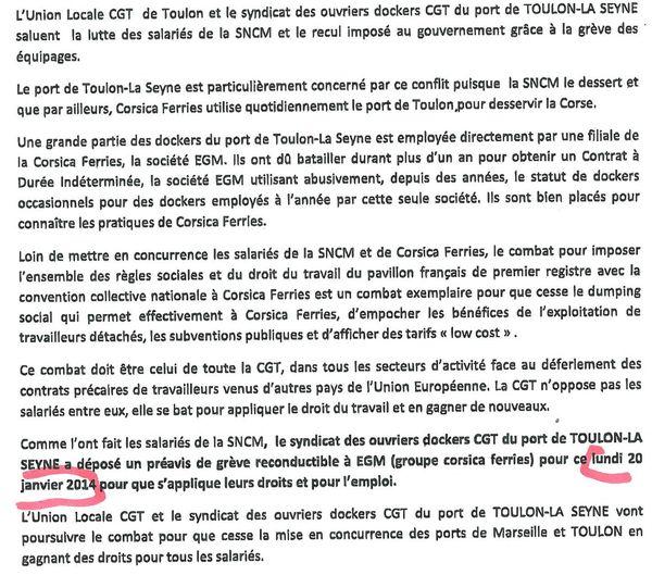 Le communiqué des dockers CGT de Toulon - La Seyne