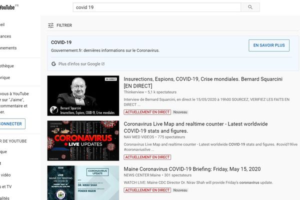 Comme les autres réseaux sociaux, Youtube propose de filtrer les informations liées au Covid-19.