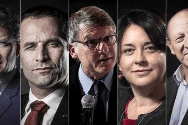 Manuel Valls, Arnaud Montebourg, Benoît Hamon, Vincent Peillon, Sylvia Pinel, Jean-Luc Bennhamias et François de Rugy (DR)