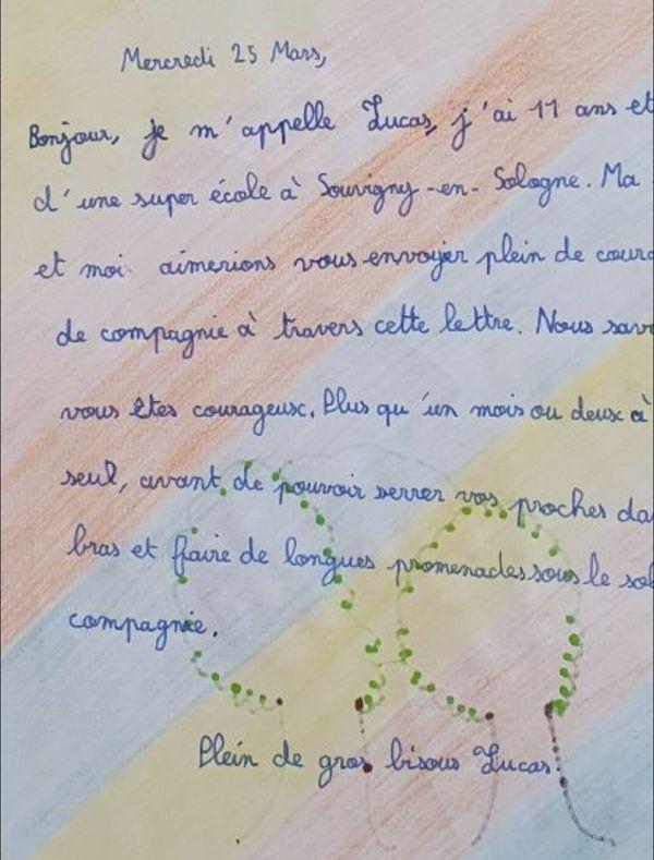 Le courrier de Lucas pour une personne âgée de l'EHPAD La Campagnarde.