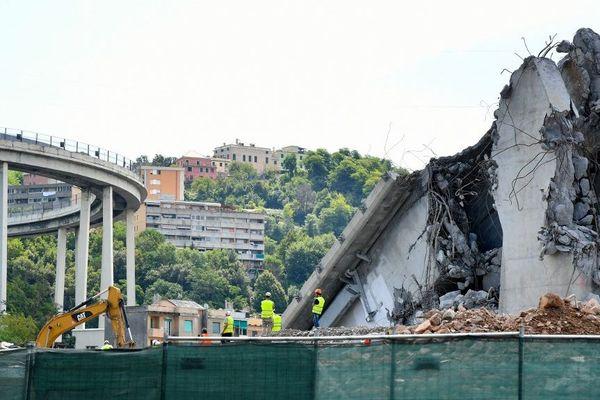 Le chantier de démolition du pont Morandi de Gènes le 13 août 2019.