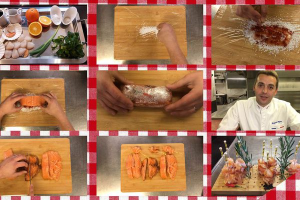 Les étapes de la recette de brochettes de saumon mariné à la chicorée, au piment doux et au genièvre de Wambrechies