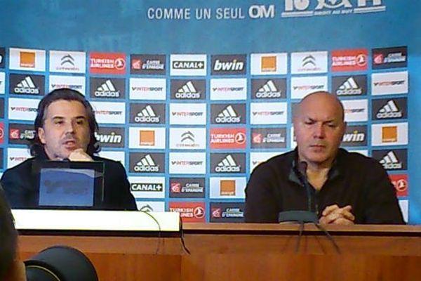 Vincent Labrune, le président de l'OM, et José Anigo qui va remplacer Elie Baup.