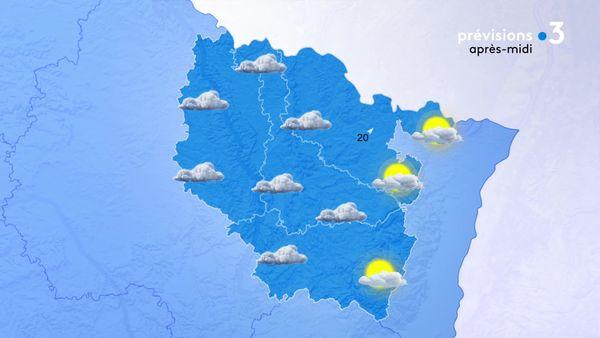 Le temps est bien gris sauf proche des frontières Alsaciennes