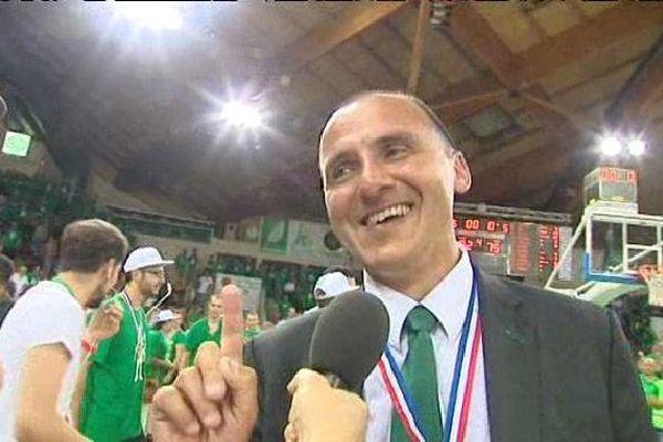 Frédéric Forte, le 20 juin 2015, après le 11° titre de champion de France du Limoges CSP.