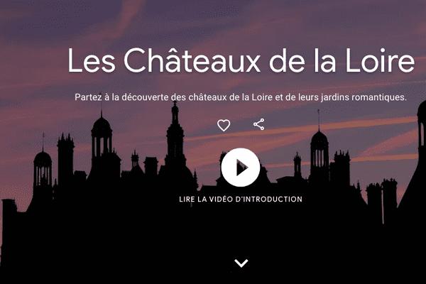 Page d'accueil de Google Arts et Culture sur les châteaux de la Loire