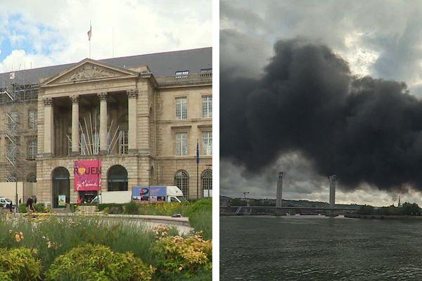 L'hôtel de ville de Rouen et le nuage de l'incendie de l'usine Lubrizol