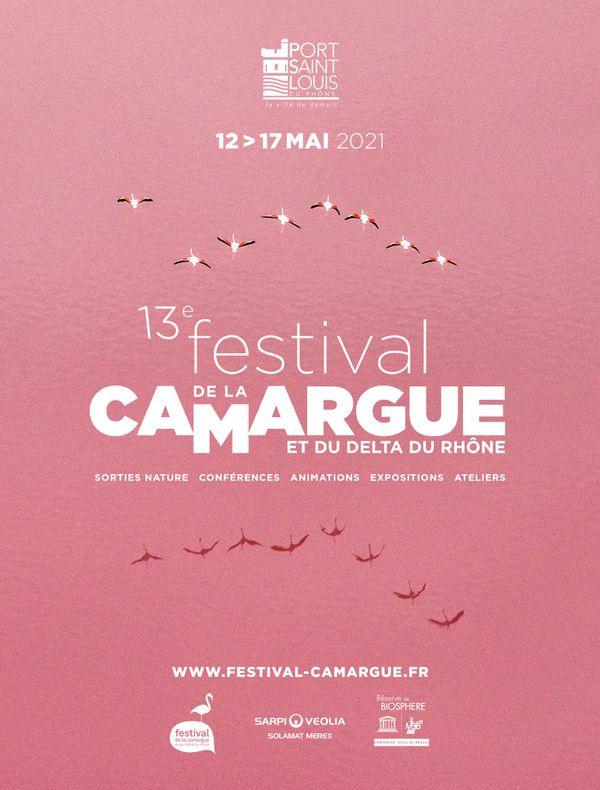 Affiche du 13e Festival de la Camargue et du Delta du Rhône qui aura lieu du 12 au 17 mai 2021