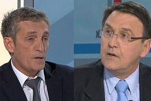 Philippe Saurel (DVG) et Jacques Domergue (UMP), candidats à la mairie de Montpellier