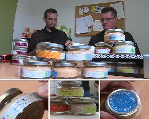 Anthony Griffoul (à gauche) et Stéphane Berger finalisant les conditionnements de leurs produits.