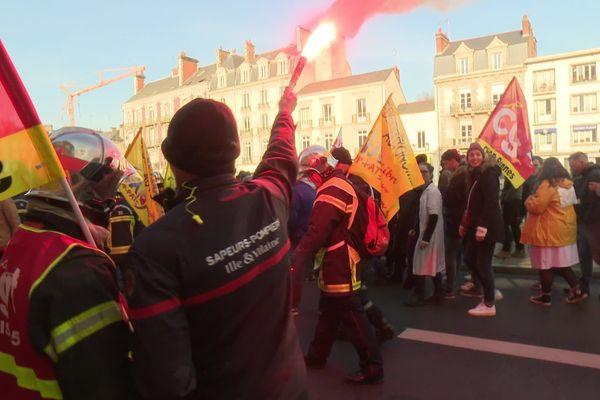 Les pompiers présents lors de la manifestation du 5 décembre à Rennes