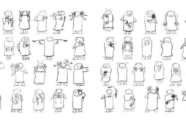 """(Image d'illustration) Quand le dessin sert la communication / extrait d'un livre bilingue Français Langue des signes """"Madame l'Emue-Peur"""", illustré par Benoît Rivals"""