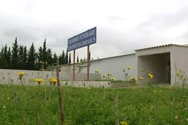 Le funérarium de Trèbes, près de Carcassonne, où s'est produit le drame - mai 2012