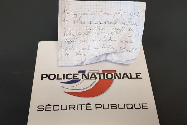 Le message de détresse d'une adolescente retrouvé à La Bastide (Limoges). La jeune fille a été placée dans une structure d'accueil. Une enquête de vérification est en cours.
