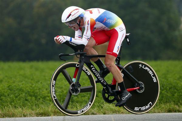Le Drômois Pierre Latour de l'équipe TotalEnergies, lors du contre-la-montre individuel, lors de la 5ème étape du Tour de France 2021.