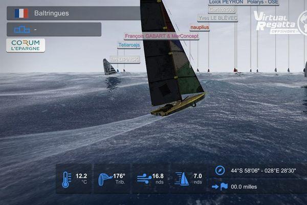 """""""Baltringues"""", le navire barré par Benoit et deux autres amis lors du passage du Cap de Bonne Espérance"""